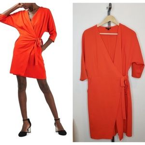 Topshop Dolman Sleeve Wrap Midi Dress in Tomato